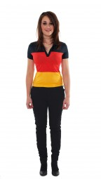 Poloshirt Deutschland, Damen, schwarz, rot, gold
